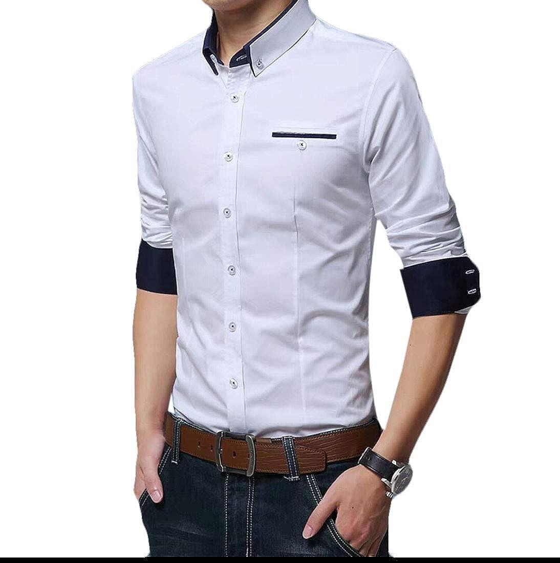 pipigo Mens Business Button Up Long Sleeve Fleece Linen Basic Dress Shirts