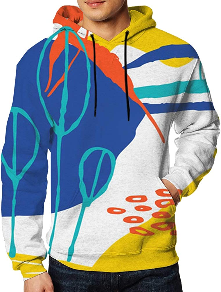 Organic Elements Tropical Mens 3D Printed Pullover Long Sleeve Hooded Sweatshirts with Pockets