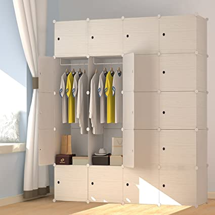 Attirant JOISCOPE MEGAFUTURE Wood Pattern Portable Wardrobe Closet For Hanging  Clothes, Combination Armoire, Modular Cabinet