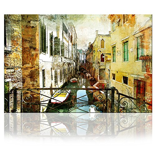 VVOVV Wall Decor - Vintage Architecture Prints Venice Grand Canal Boat Wall Art Canvas Italy Town Cityscape Painting Abstract City Landscape Watercolor Pictures Bar Decorations