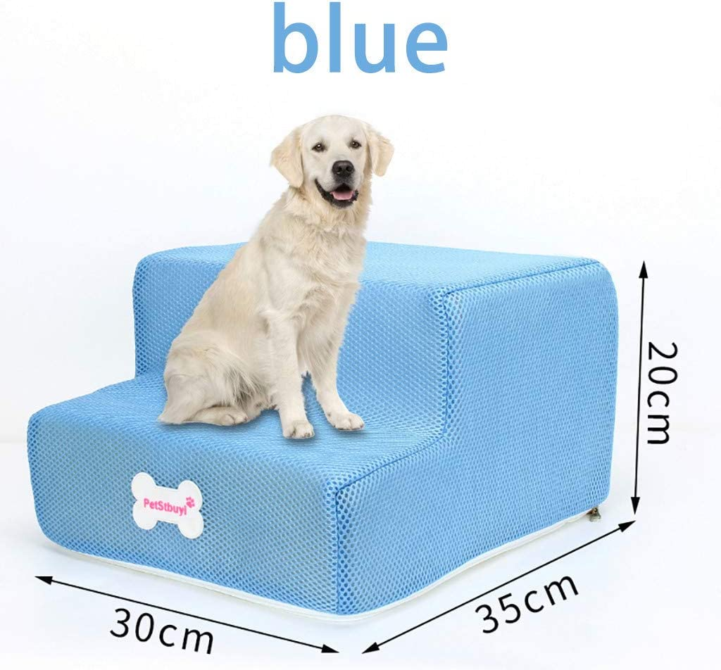 Puppy /& Kitty Ramp for Bed /& Sofa Non-Slip Bottom Pet Bed Cat Dog Ramp GorNorriss Breathable Mesh Foldable Pet Stairs 2 Tier Pet Stairs for Dogs /& Cats