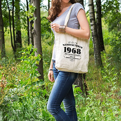 Tote Gifts 1968 Bags Women For Bag Shopper White Cotton Printed Manufactured 4T4wr61q