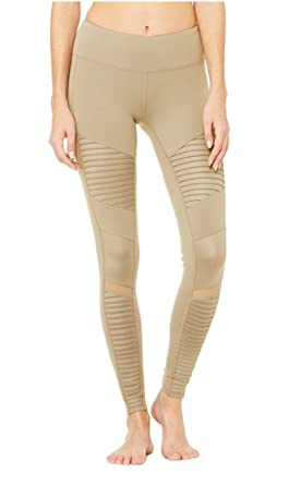 3f4ecc85744978 Alo Yoga Women's Moto Legging, Gravel/Gravel Glossy, L at Amazon ...