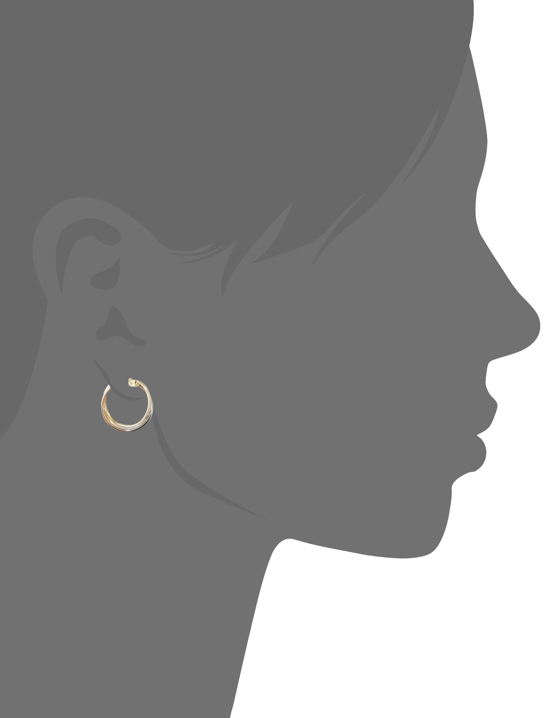 14k Gold Tri-Color Triple Hoop Earrings by Amazon Collection (Image #2)