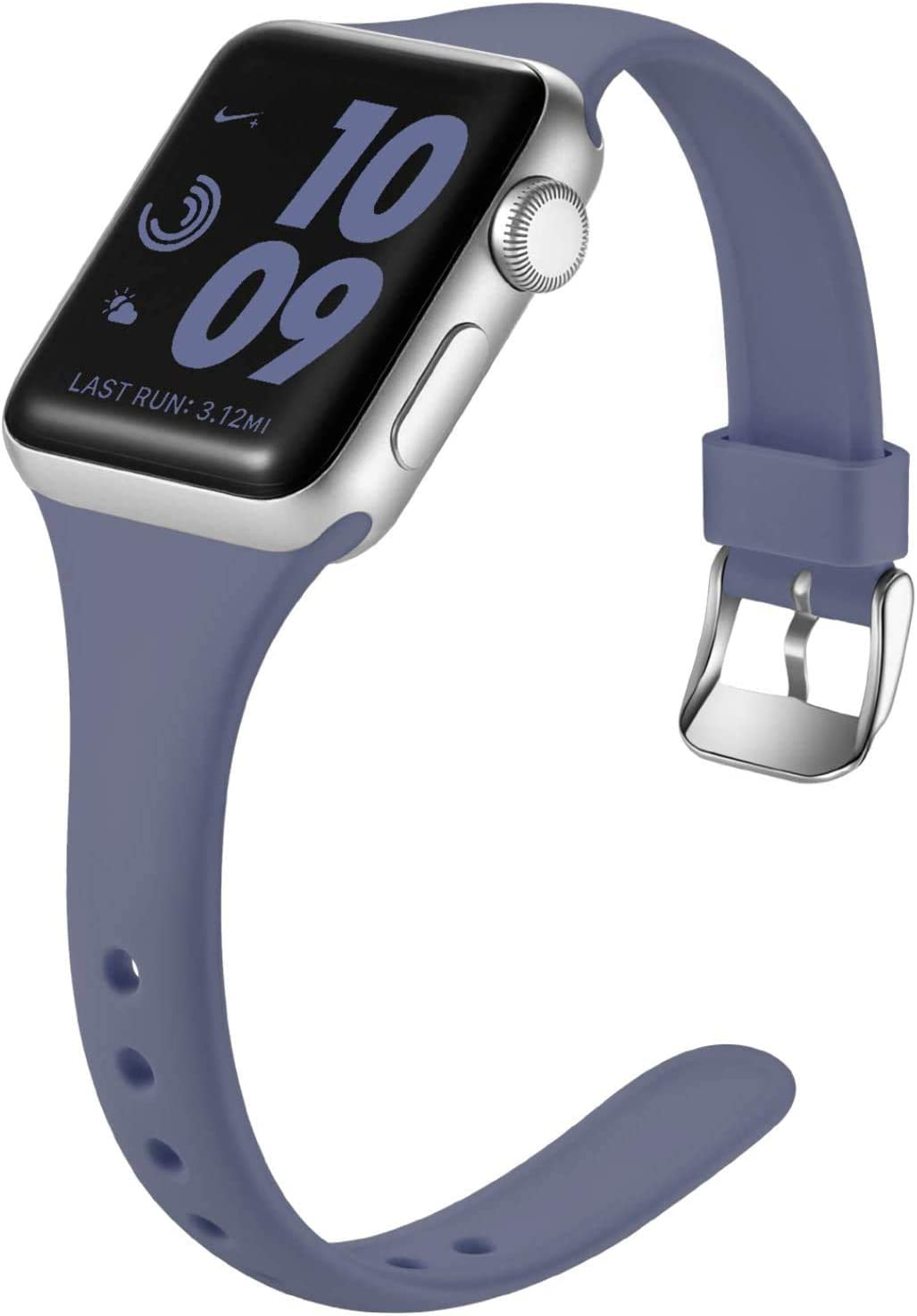 Laffav Band Compatible with Apple Watch 42mm 44mm, Slim Sport Strap Compatible with iWatch SE & Series 6 & Series 5, Series 4, Series 3, Series 2, Series 1, Blue Gray, M/L