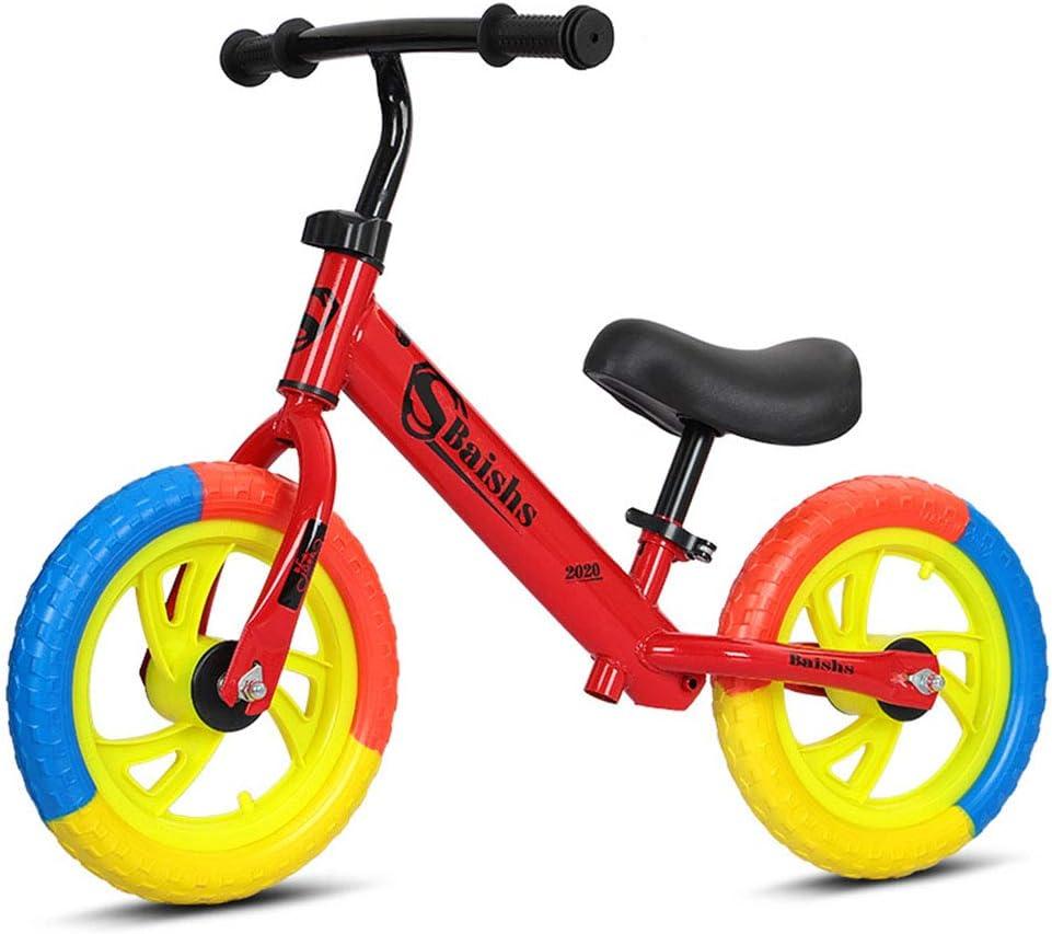 DFSSD Niños Primero Bicicletas, Equilibrio formación Bicicleta, Neumáticos de Colores, Smooth Bearings, Ahorra Esfuerzo, por 2-6 años de Edad Chico y niños pequeños,Rojo