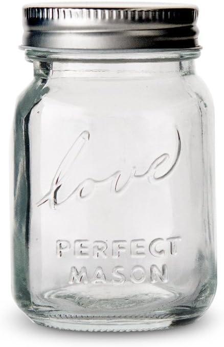"""6 St/ück im Vintage-Stil mit Schraubverschluss Mini-Einmachgl/äser mit Aufschrift /""""Love/"""" und /""""Perfect Mason/"""""""