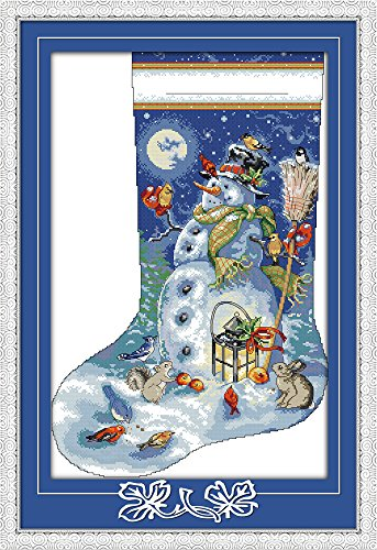 Joy Sunday Cross Stitch Kit 14CT Stamped Embroidery Kits Precise Printed Needlework - Christmas stocking (3) 42×60CM