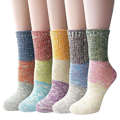 Pack of 5 Womens Multicolor Knitted Casual Crew Socks