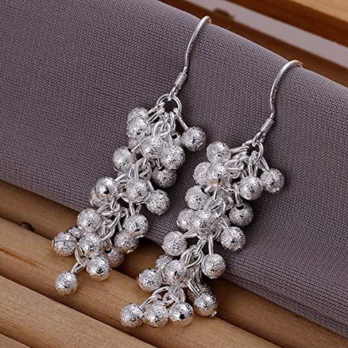Sterling Silver Grape Cluster Earrings Long Dangle Hook Earrings