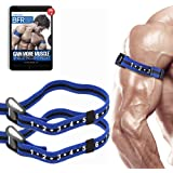 """BFR BANDS Occlusion Training Bands by Bfr Bands Pro Slim Model, 2 Pack, Blood Flow Restriction Bands with 1"""" Width Comfort Wrapped Metal Buckle, Extra Thick Elastic, Multiple Patents Pending"""