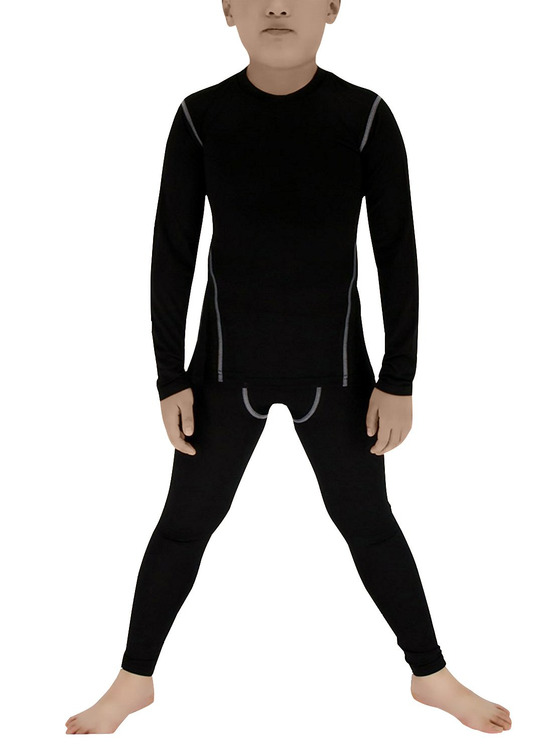 Boy's Thermal Underwear Set Long John Skin Base Layer Tops and Bottom Moisture Wicking(14 Black) by Minghe