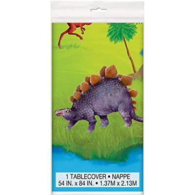 "Dinosaur Plastic Tablecloth, 84"" x 54"": Kitchen & Dining"