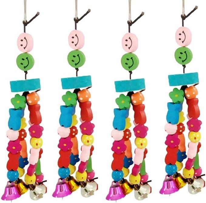 5 unids Parrot Chew Toys Colorido Natural Piedra colgante de madera Juguetes con campanas de madera Colgante de juguete para la jaula de pájaros Accesorios para pájaros Pequeñas jaulas Parakeet Jaulas