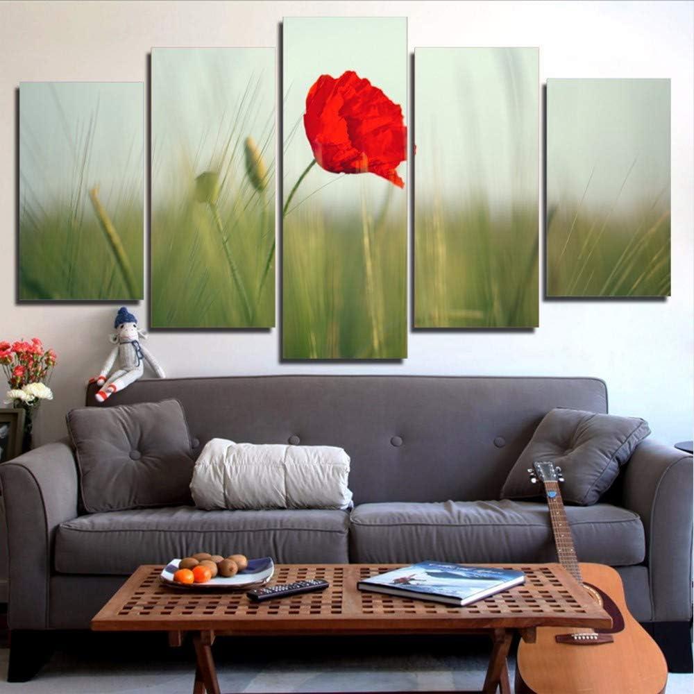 QThxqa Arte de la pared cuadros de la lona obras de arte Modular HD impreso 5 unidades rojo amapola flores paisaje pintura moderna decoración de la Sala