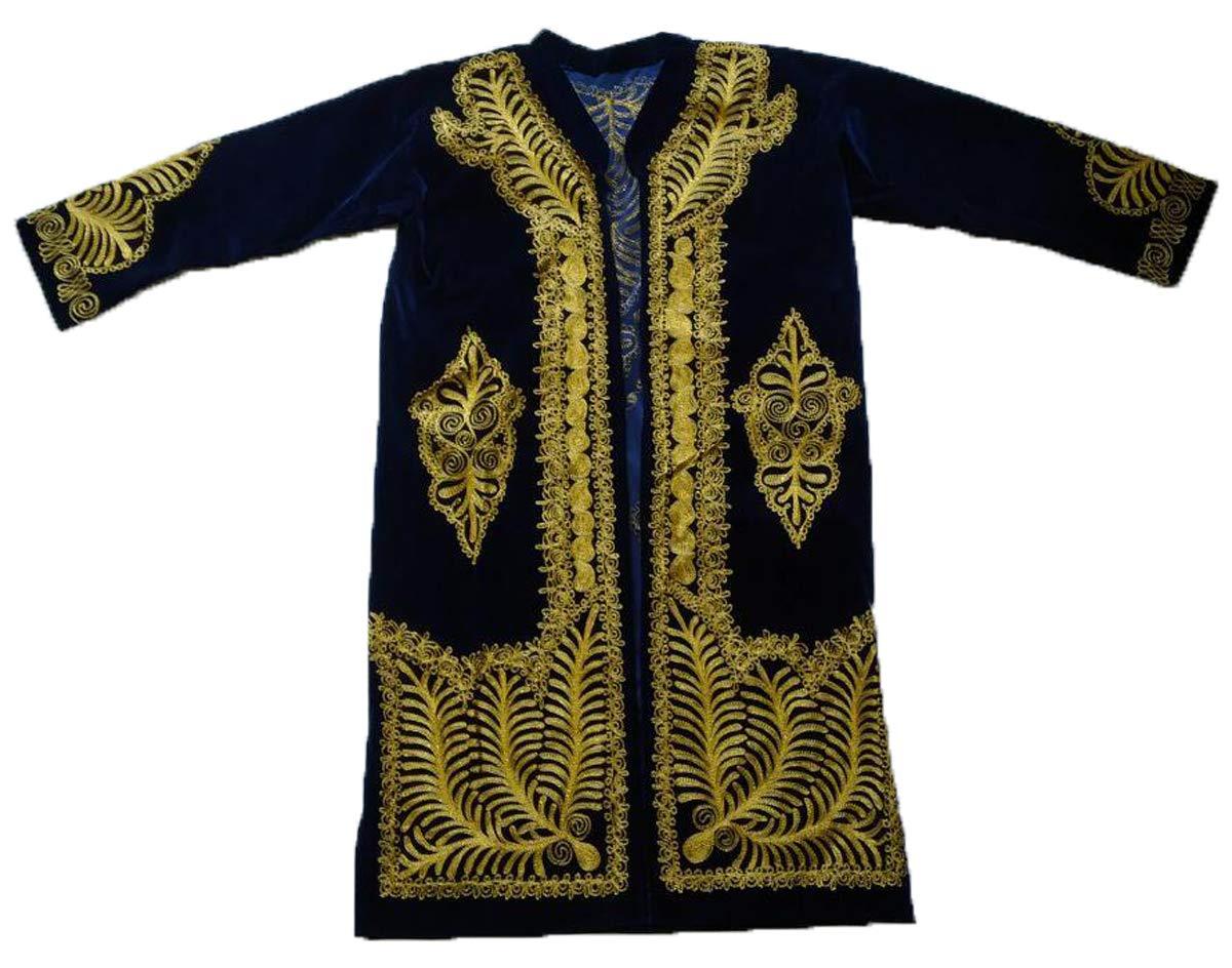 Amazon Com Uzbek Wedding Gold Embroidery Velour Chapan Robe Coat For Man Handmade