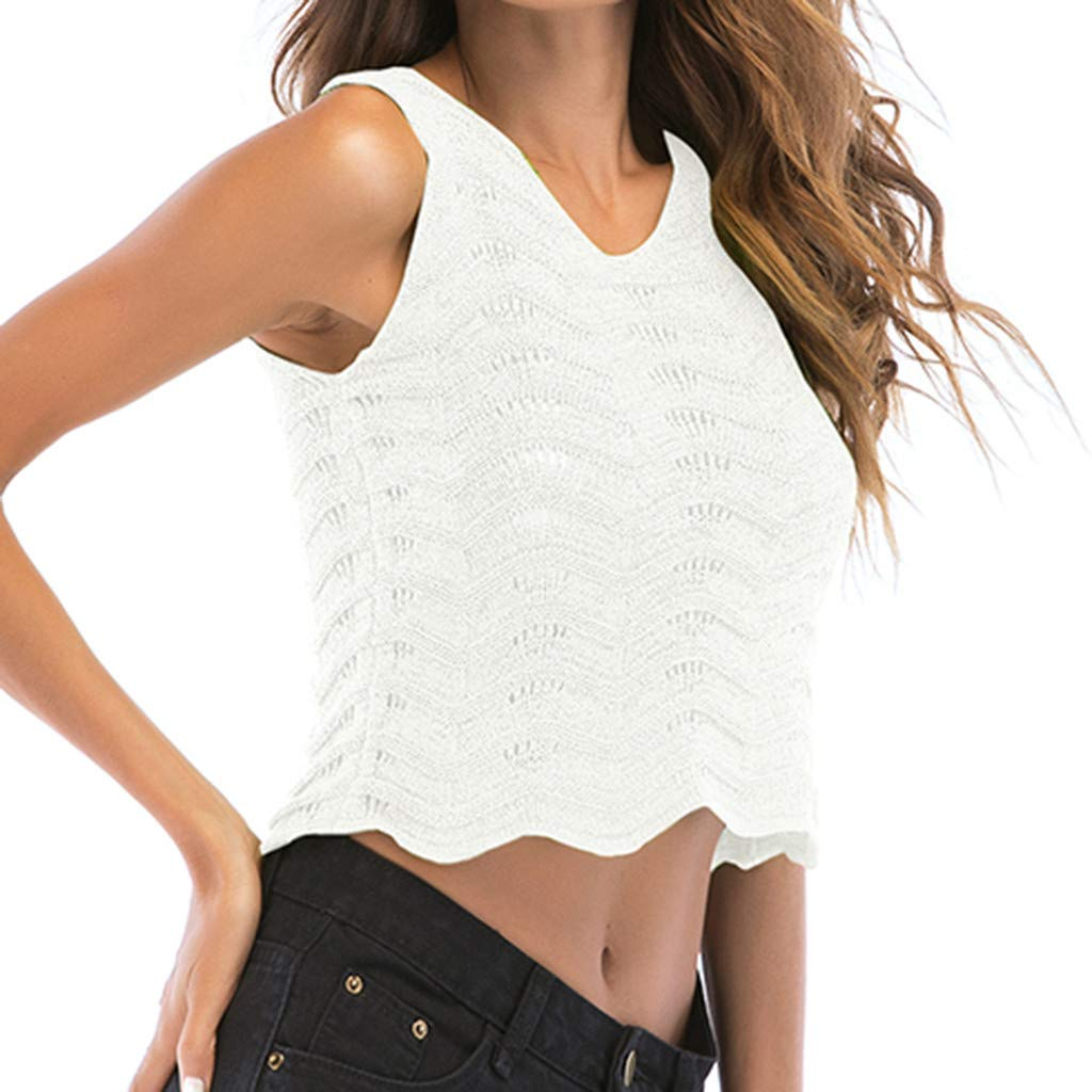 Women Top Hooked Crewneck Openwork Wavy Cami Side Vest Sleeveless Airsoft Tank Blouse White