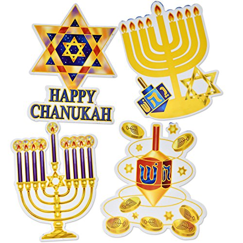 Gift Boutique Hanukkah Window Clings Decorations Menorah, Star of David, Happy Chanukah, and Dreidel, Pack of 4 Hanging Banners