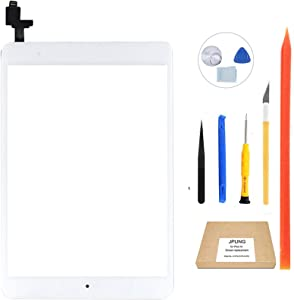 JPUNG Touch Screen Replacement for iPad Mini 1/iPad Mini 2 Digitizer (White),A1432 A1454 A1455 A1489 A1490, with Home Button, Full Repair Kit, Camera Holder, Pre-Installed Adhesive Stickers