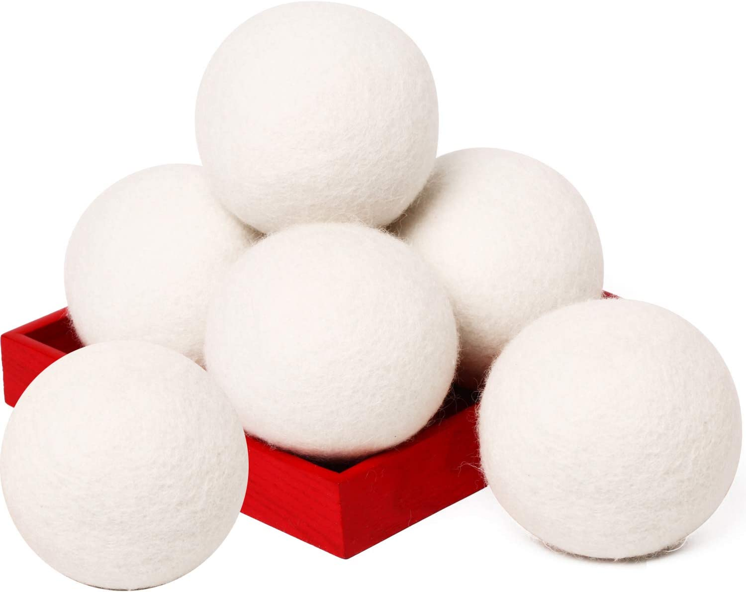 Wool Dryer Balls Organic XL 6-Pack Natural Fabric Softener Laundry Dryer Ball 100% New Zealand Fabric Softener for 1000+ Loads Baby Safe & Hypoallergenic (White, 6XL)