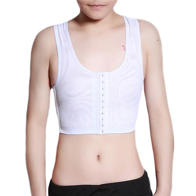 Baron Hong sujetador deportivo pecho corsé chaleco elástico tapas de obturación para Tomboy Lesbianas (blanco