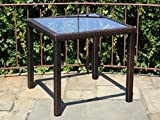 Patio Resin Outdoor Wicker Square 31.5 Inches Dining Table w/ Glass Top.Dark Brown