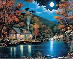 5D DIY Country Moonlight Landscape Diamond Painting Kits for Adults,Full Drill Cross Stitch Crystal Rhinestone Embroidery Diamond Art Painting, Home Wall Decor Gift (16x12 inch)