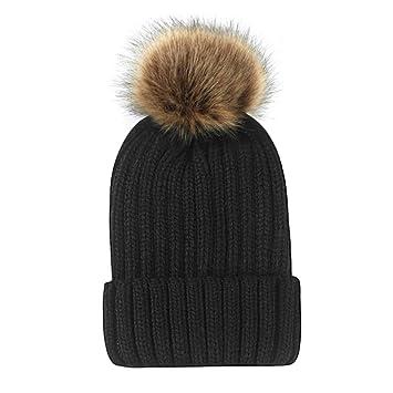 ZXGJMZ Color sólido Gorras de Invierno Sombrero de Punto para Mujer Sombrero de esquí Femenino para