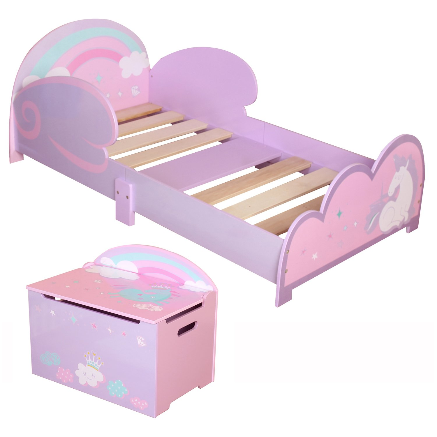 Details About Childrens Kids Toddler Girls Pink Unicorn Bedroom Set Junior  Bed Toy Storage Box