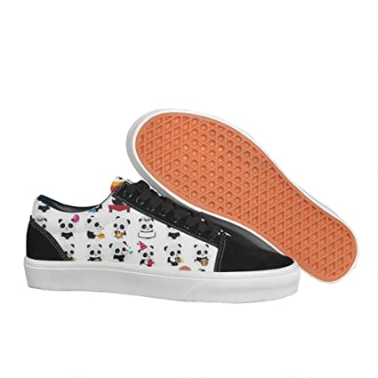 cff1024b14 Panfeng Womens Happy Panda Low Top Canvas Lace-up Sneakers Casual All-Match