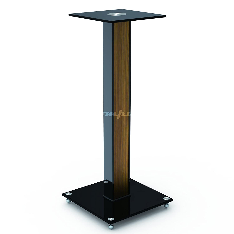 "AUDIO123 BS-03M Aluminum Glass and Wood Bookshelf Speaker Stand 23.6"" with floor spikes set of 2 Audio123LTD BS3LB"
