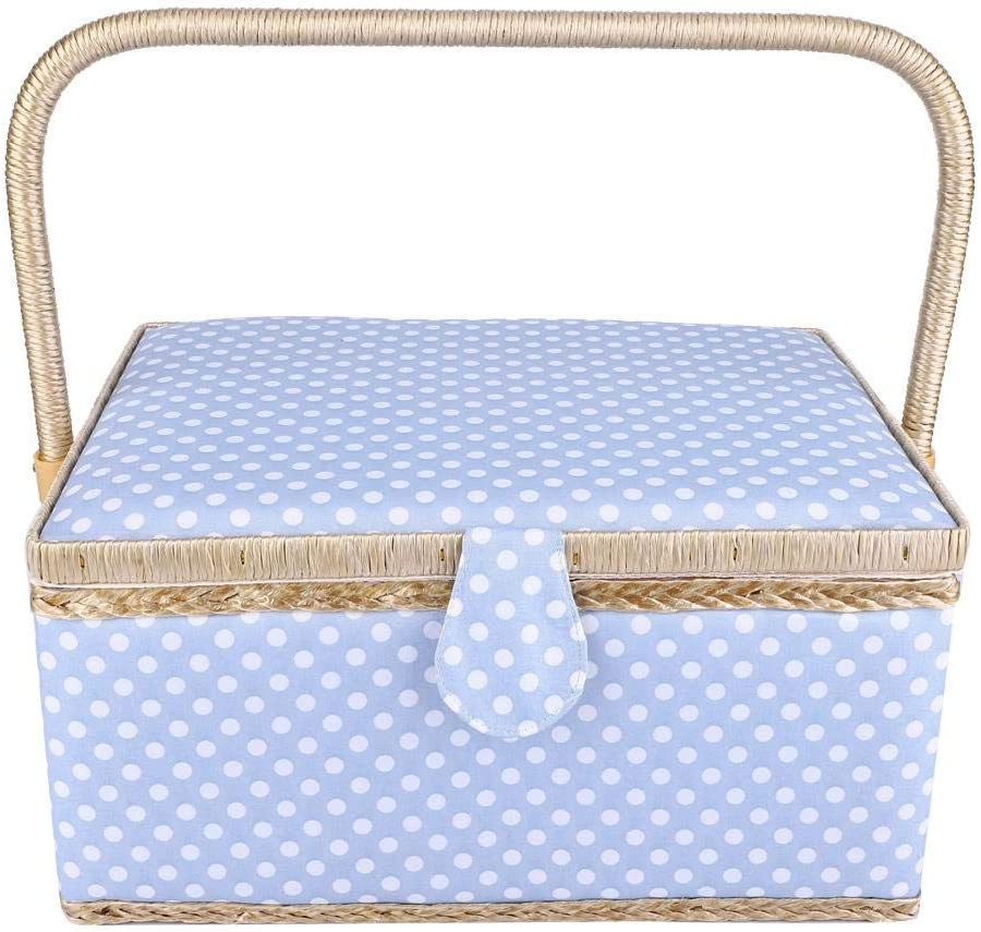 Blue Portable Large Double-Layer Household Fabric Craft Thread Needle Box wth a Detachable Plastic Tray for Storage Threads Etc Ginyia Sewing Basket Scissors