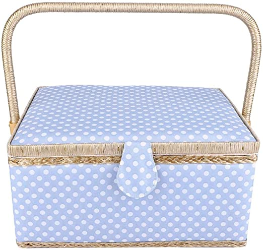 Blue Double-Layer Sewing Basket Portable Large Sewing Basket Household Fabric Craft Thread Needle Storage Box with Detachable Plastic Tray
