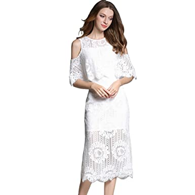SUGARWEWE White Hollow Out Knee Length Fishtail Dress for Women with Ruffle  White S 6f75c885f