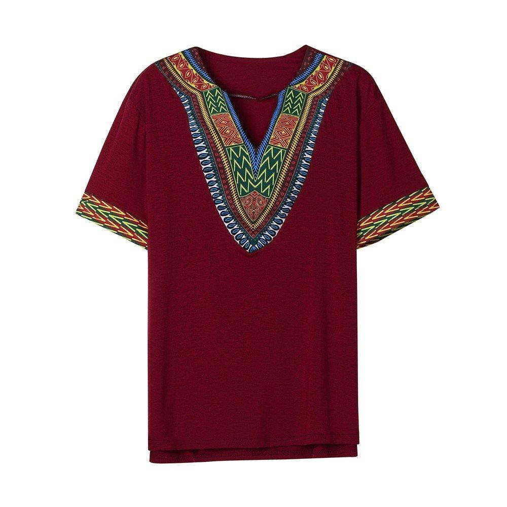 Winsummer Men Dashiki Shirts African Print Summer Short Sleeve Graphic Tops V Neck Fashion T-Shirt Tee Wine Red