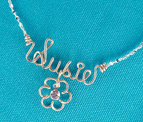(Rose Gold Wire Name Necklace or Anklet~2 Tone~Pink Gold~Yellow Gold~Sterling Silver~Charm w/Swarovski Birthstone~Any Name~Personalized Jewelry Gift)