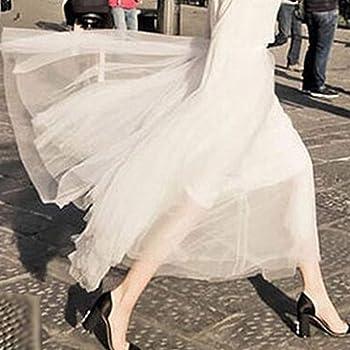 TUDUZ Mujer Falda Larga Plisada De Malla De Tul con Cintura Alta ...