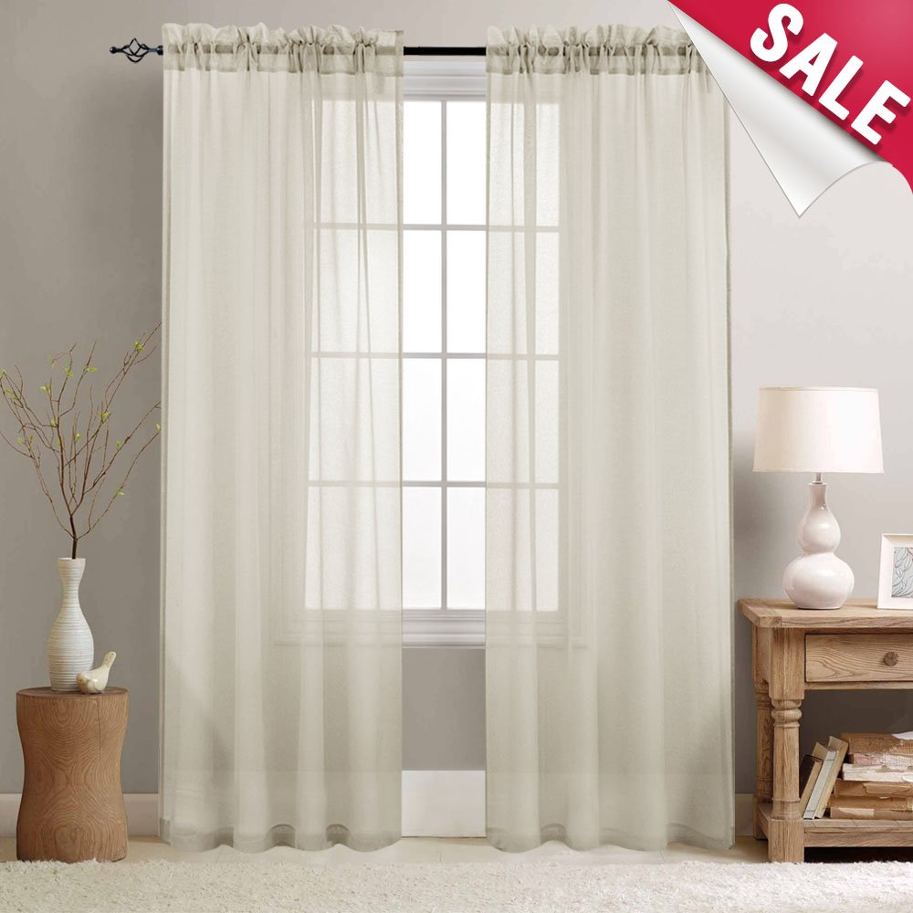 Semi Sheer Curtains for Bedroom Beige Sheer Voile Curtains for Living Room 63 inches Long Window Curtain Set, Rod Pocket, 2 Panels