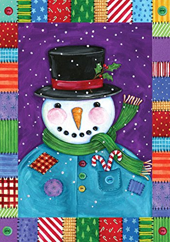 (Toland Home Garden Patchwork Snowman 12.5 x 18 Inch Decorative Winter Quilt Design Garden)