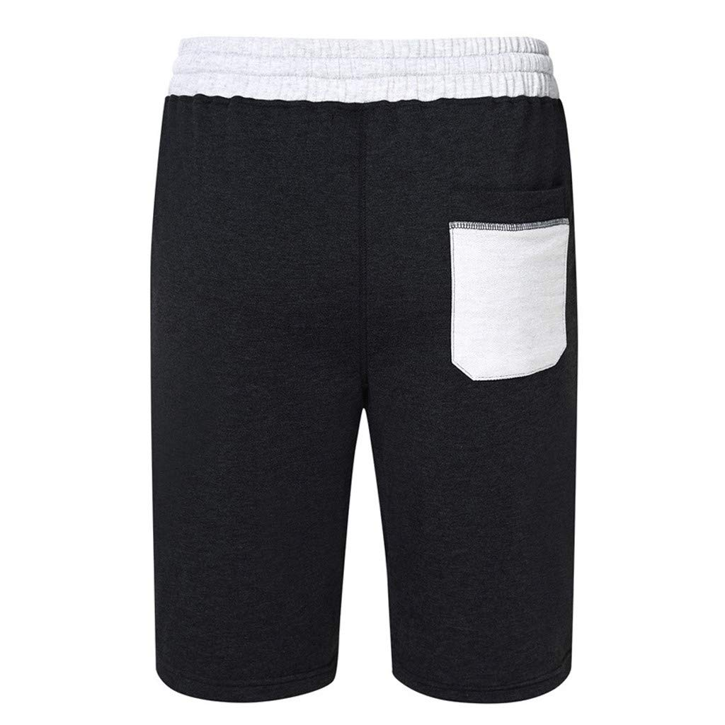 GREFER Men's Short Pants Casual Sports Elasticated Waist Shorts Black by GREFER (Image #3)