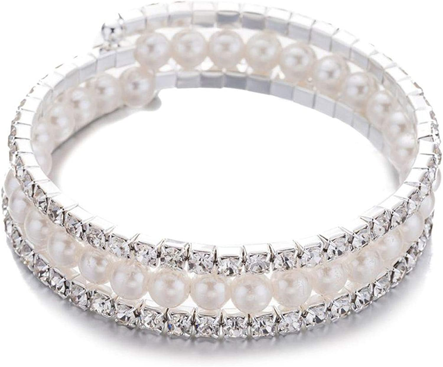 Chic Winding Bracelet Women Multilayer Pearl Crystal Bracelets Bangle Wedding Jewelry Accessories Female Party Bride Gift