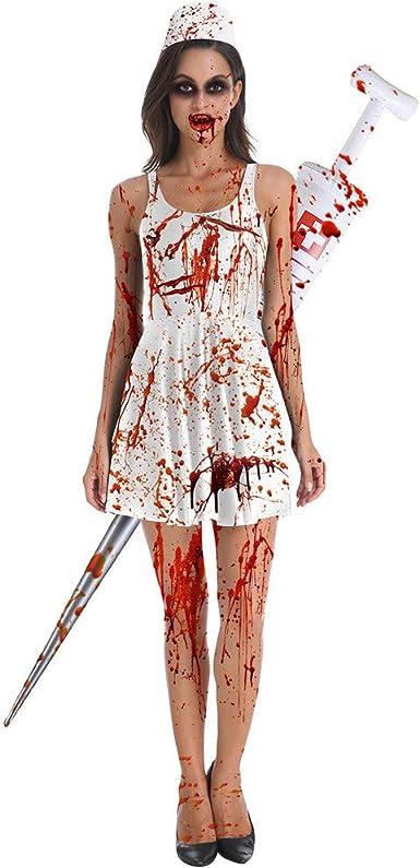 Disfraz Vestido Halloween para Mujer Vestido de Chica Zombi ...