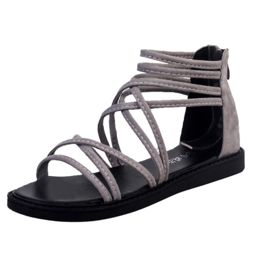 AIMTOPPY HOT Sale, Summer Women Flat Shoes Bandage Bohemia Leisure Lady Sandals Peep-Toe Outdoor Shoes (US:8, Gray)