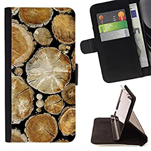 - RAINFOREST NATURE WOOD TREES CUT PILE - - Prima caja de la PU billetera de cuero con ranuras para tarjetas, efectivo desmontable correa para l Funny HouseFOR Apple Iphone 5C