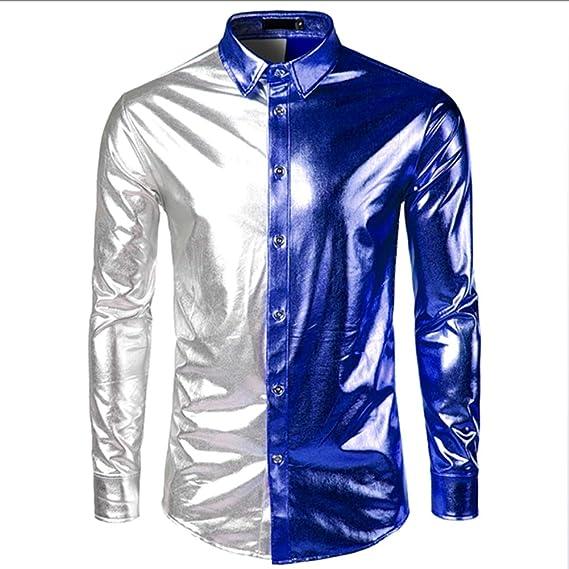 LISILI Camisa de Fiesta de Manga Larga para Hombre Disco metálico Brillante Discoteca Estilo Botón Abajo Camisas de Bowling Costura en Dos Colores,Azul,XL: Amazon.es: Hogar