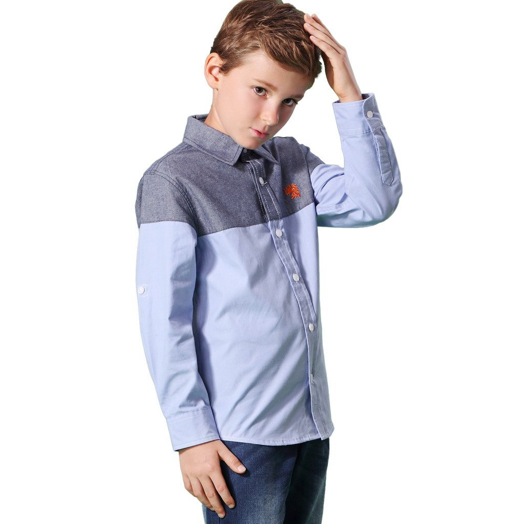 Leo&Lily Boys' Long Sleeve Casual England Classic Oxford Button Down Shirts (14, Blue)