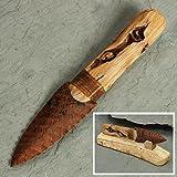 Natural Wood Obsidian Blade Knife