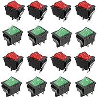 ON-OFF/AAN-UIT-wipschakelaar, verlicht, 16 stuks 4-pins DPST AAN-UIT, snap in boot tuimelschakelaar, 4 pin AC 250 V 15 A…