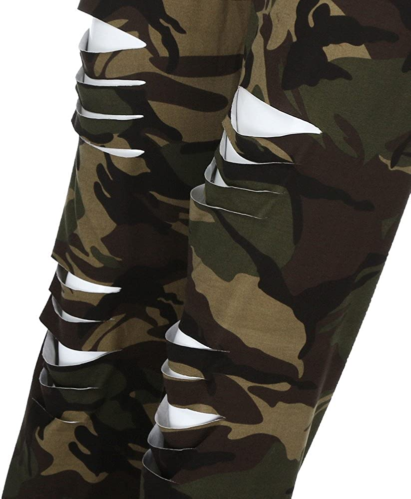 URIBAKE Fashion Womens Plus Size Leggings Breathable Mid Waist Camouflage Sport Hole Casual Pants