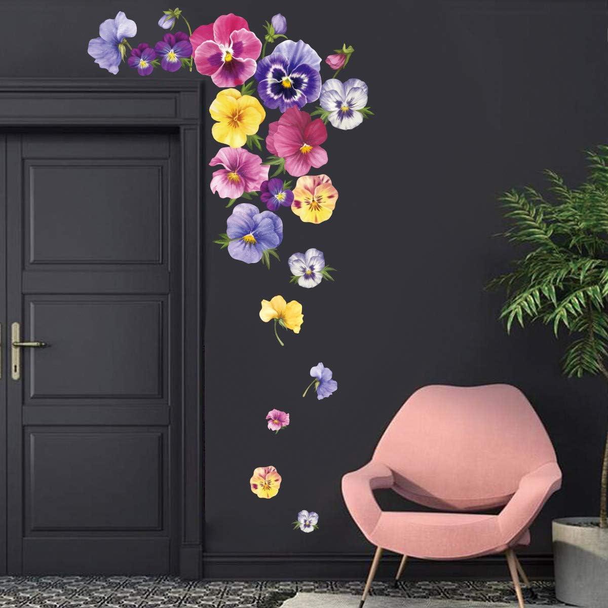 ufengke Pegatinas de Pared Pensamiento Flores Vinilos Adhesivos Pared Floral Decorativos para Habitación Niñas Dormitorio Infantiles Sala de Estar